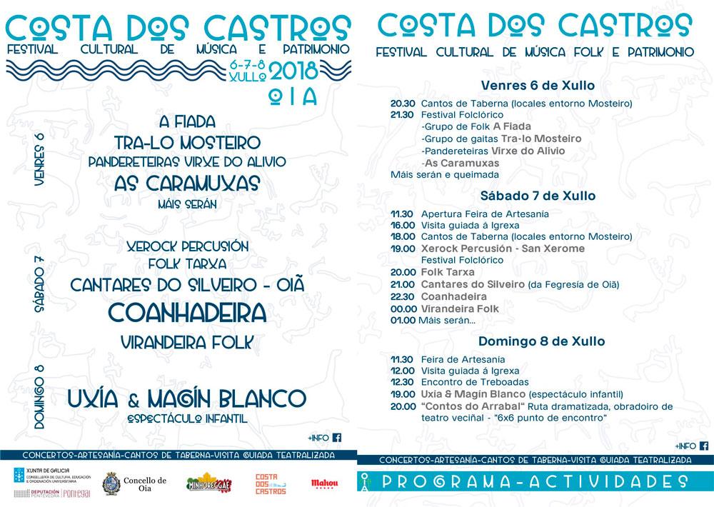 """Terceira edición do """"Festival Costa dos Castros"""" en Oia, este fin de semana"""