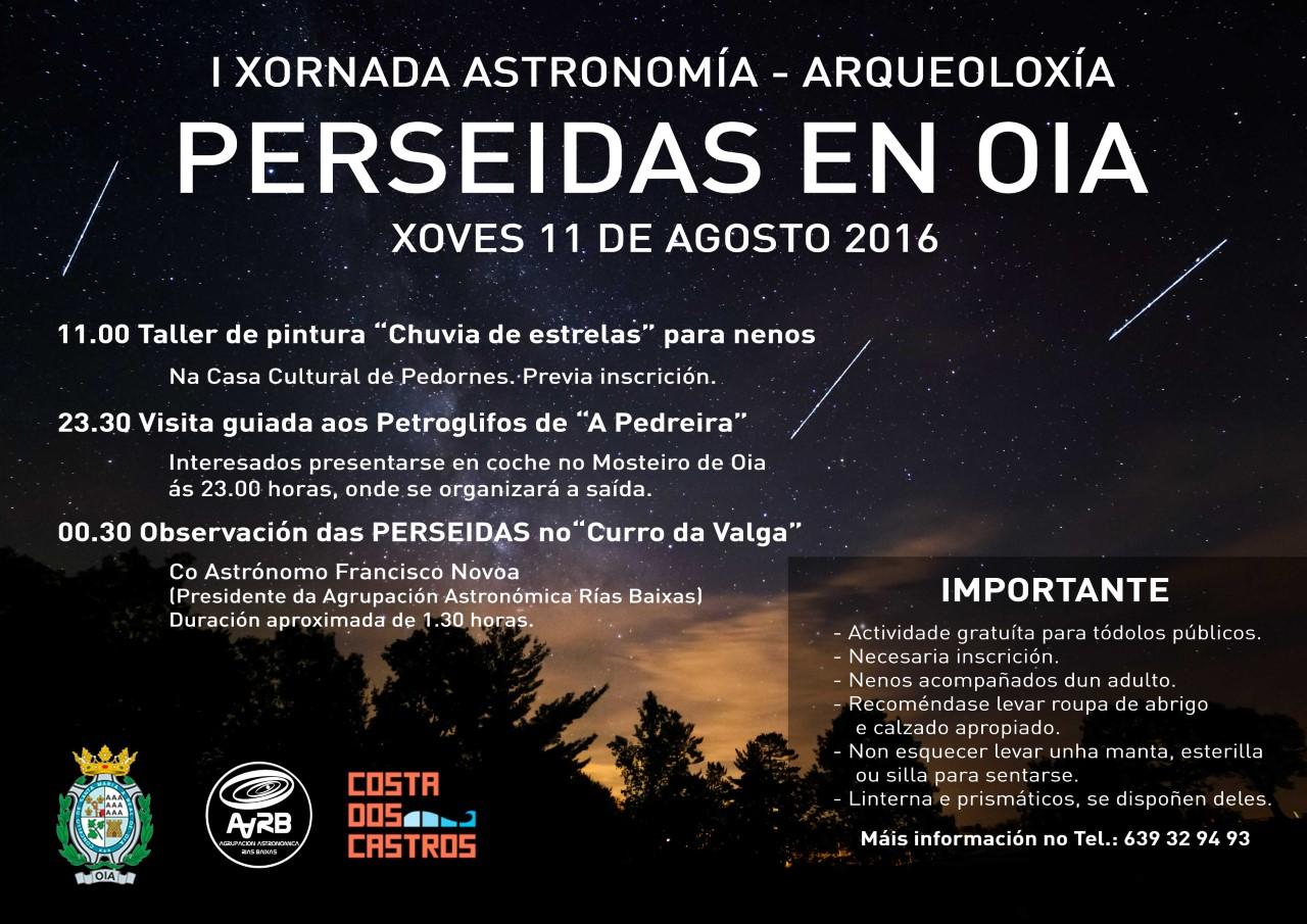 """O Concello de Oia organiza a """"I XORNADA ASTRONOMÍA-ARQUEOLOXÍA"""", o vindeiro xoves 11 de agosto, con motivo das """"Perseidas"""""""