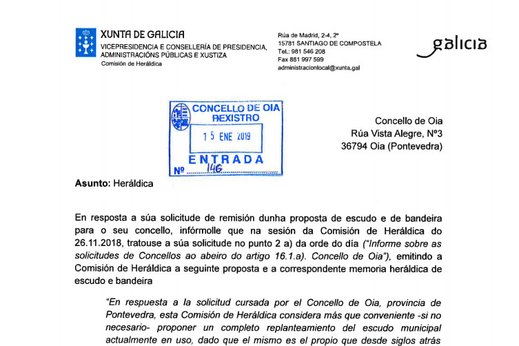 Heráldica traslada ao Concello de Oia dúas propostas para o escudo e bandeira oficiais