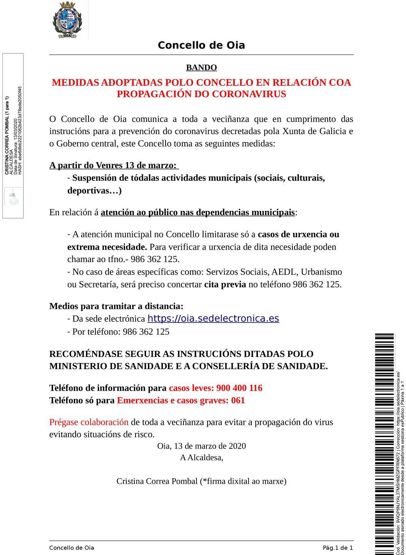 Bando de medidas adoptadas polo Concello en relación coa propagación do Coronavirus