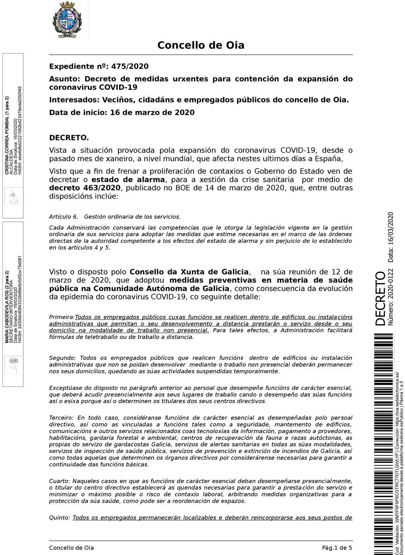 Decreto do Concello de Oia de medidas urxentes para contención da expansión do Coronavirus