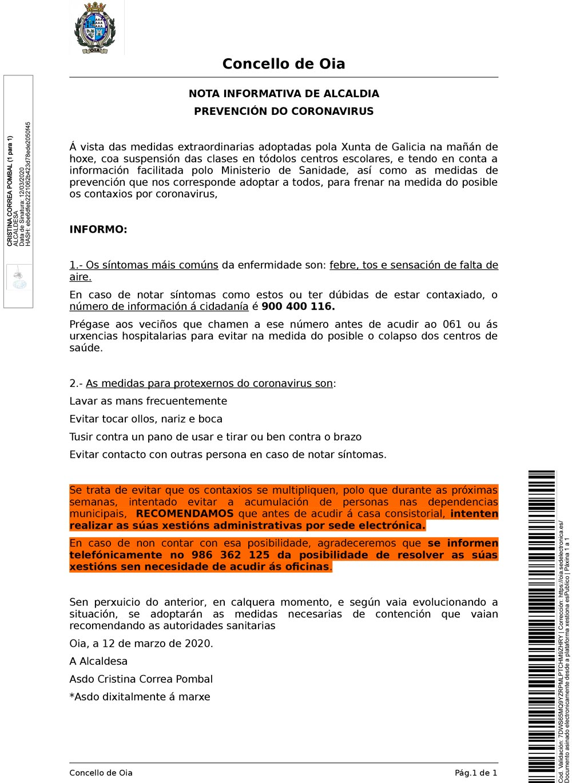 Nota informativa de Alcaldía – Prevención do Coronavirus