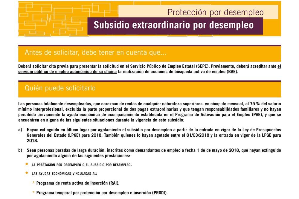 Subsidio extraordinario por desemprego (SED)
