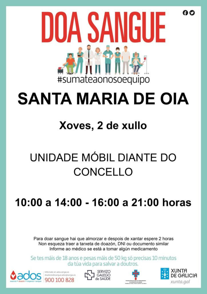 #súmateaonosoequipo – A unidade móbil de doazón de sangue visita Oia este xoves