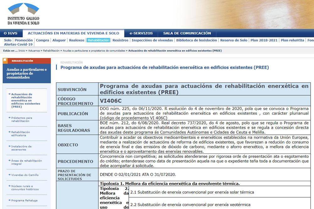 Programa de axudas para actuacións de rehabilitación enerxética en edificios existentes (PREE)