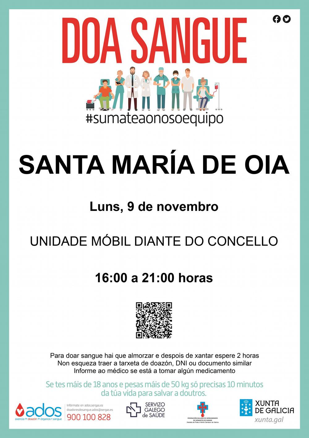 DOAZÓN DE SANGUE: Sta. María de Oia 9 de novembro