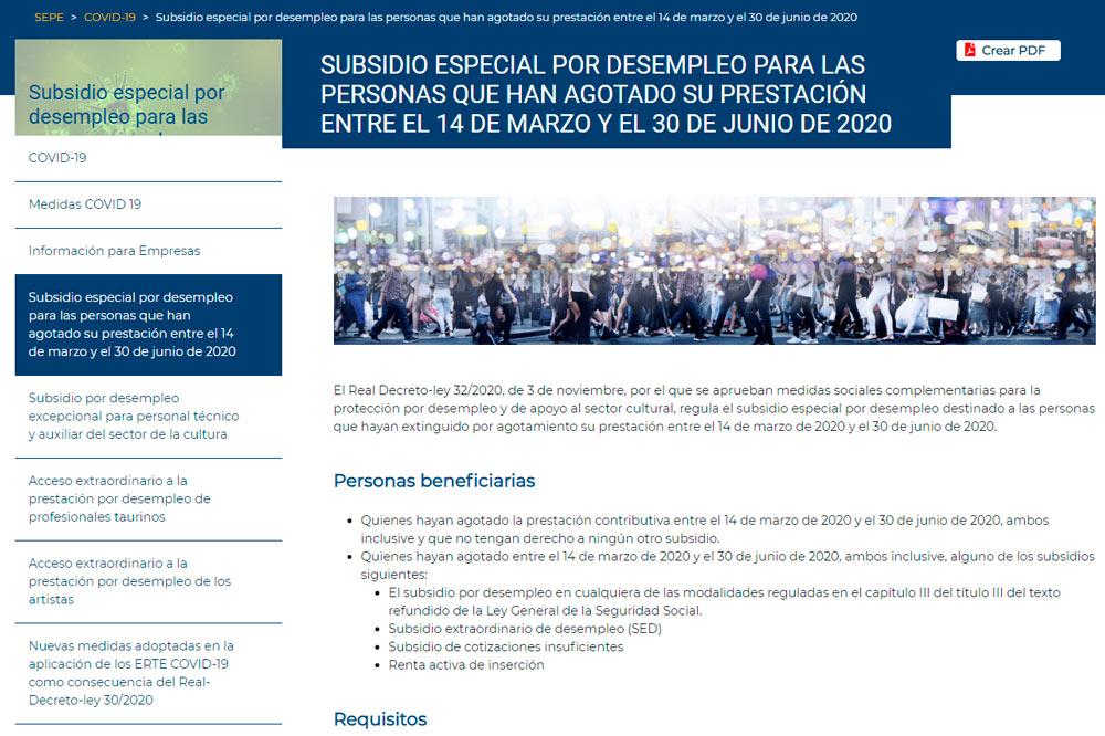 Subsidio especial por desemprego para as persoas que agotaran a súa prestación entre o 14 de marzo e o 30 de xuño de 2020