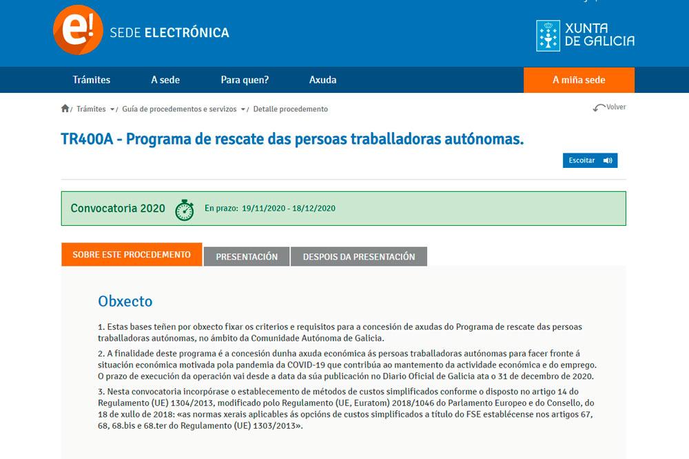 Programa de rescate das persoas traballadoras autónomas