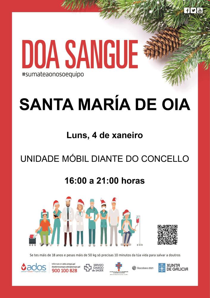 DOAZÓN DE SANGUE: Sta. María de Oia 4 de xaneiro de 2021