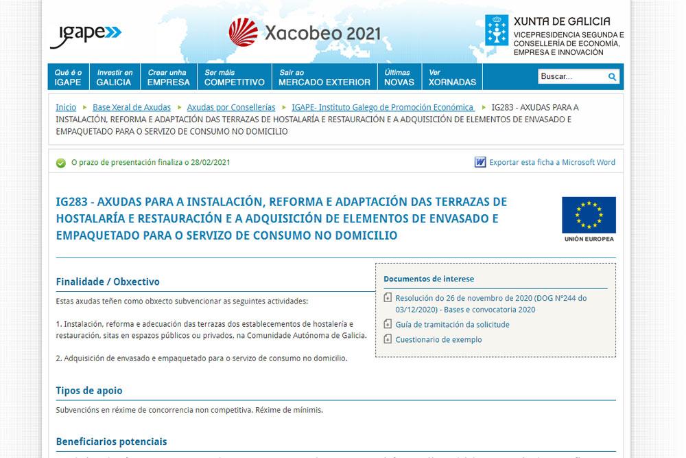 Axudas á hostalaría e restauración da Xunta de Galicia