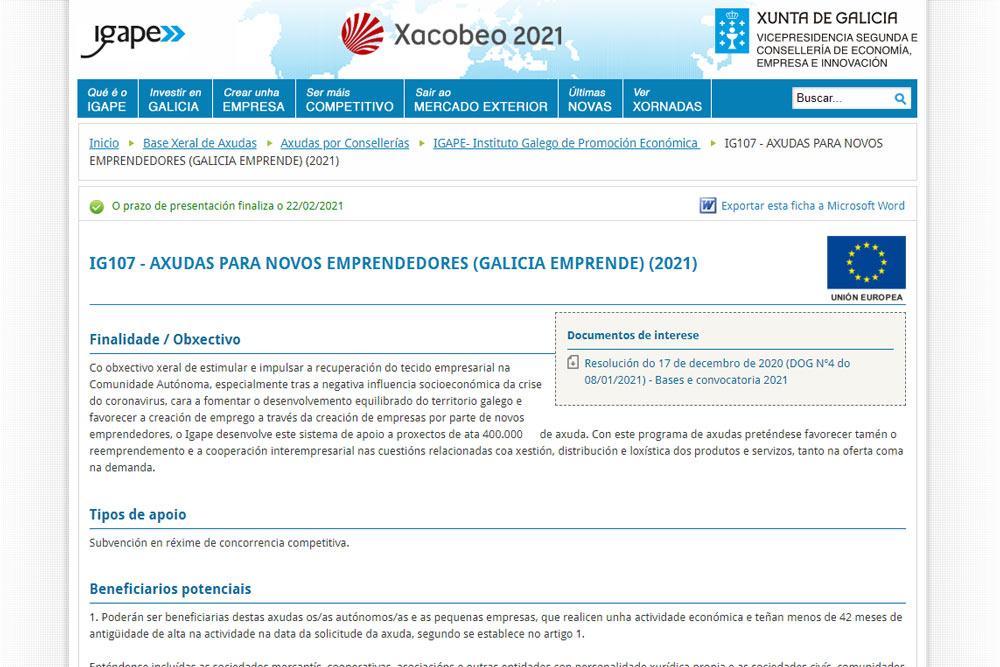 Axudas Galicia Emprende 2021 para novos/as emprendedores/as