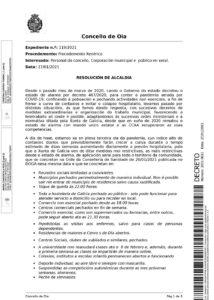 DECRETO DE ORGANIZACIÓN PRESENCIAL E A DISTANCIA DO PERSOAL DO CONCELLO DE OIA