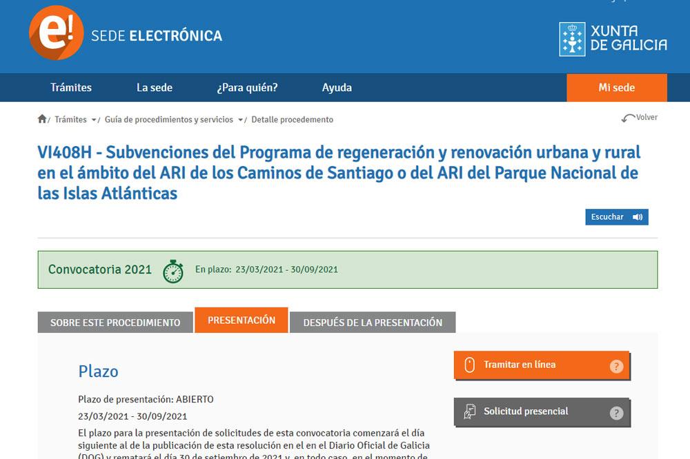 Subvencións para rehabilitación de vivenda nas ARIs dos Camiños de Santiago (2021)