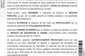 Oia abre o prazo para solicitar fogueiras de San Xoán ata o 21 de xuño