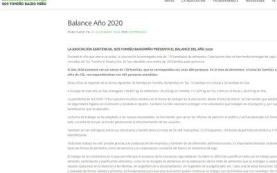 A asociación asistencial SOS TOMIÑO BAIXOMIÑO presenta o balance do ano 2020